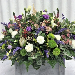Funeral Spray with purples and white